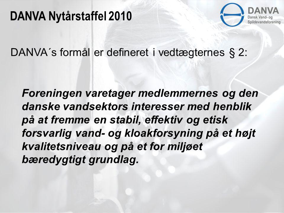 DANVA´s formål er defineret i vedtægternes § 2: Foreningen varetager medlemmernes og den danske vandsektors interesser med henblik på at fremme en stabil, effektiv og etisk forsvarlig vand- og kloakforsyning på et højt kvalitetsniveau og på et for miljøet bæredygtigt grundlag.