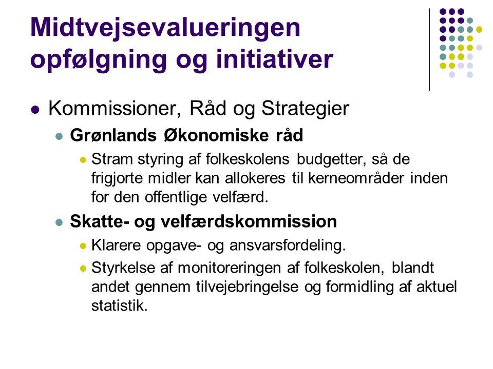 Midtvejsevalueringen opfølgning og initiativer  Kommissioner, Råd og Strategier  Grønlands Økonomiske råd  Stram styring af folkeskolens budgetter, så de frigjorte midler kan allokeres til kerneområder inden for den offentlige velfærd.