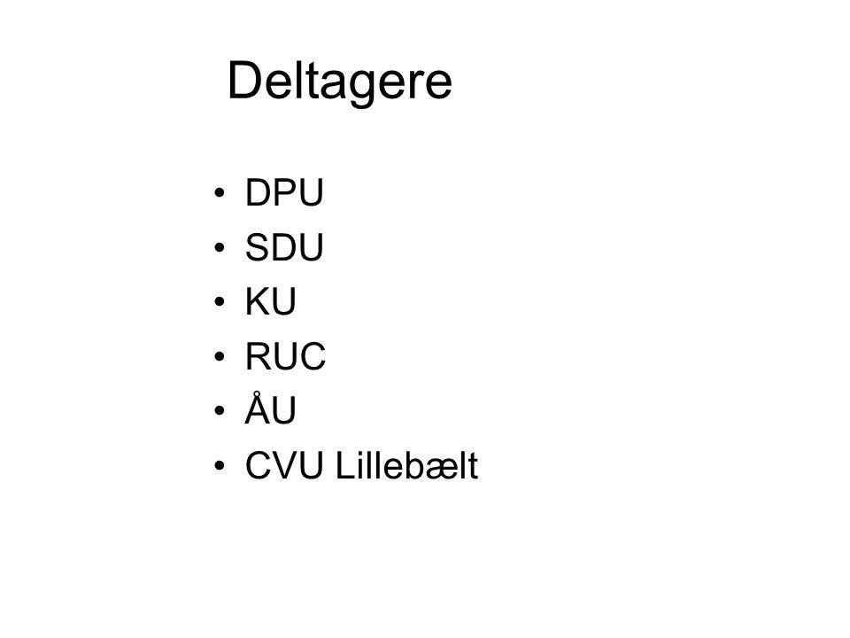 Deltagere •DPU •SDU •KU •RUC •ÅU •CVU Lillebælt