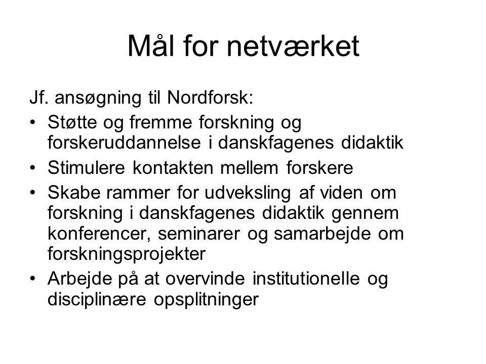 Mål for netværket Jf.