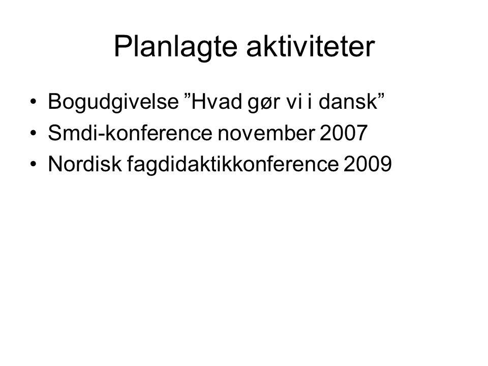 Planlagte aktiviteter •Bogudgivelse Hvad gør vi i dansk •Smdi-konference november 2007 •Nordisk fagdidaktikkonference 2009