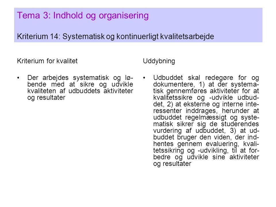 Tema 3: Indhold og organisering Kriterium 14: Systematisk og kontinuerligt kvalitetsarbejde Kriterium for kvalitet •Der arbejdes systematisk og lø- bende med at sikre og udvikle kvaliteten af udbuddets aktiviteter og resultater Uddybning •Udbuddet skal redegøre for og dokumentere, 1) at der systema- tisk gennemføres aktiviteter for at kvalitetssikre og -udvikle udbud- det, 2) at eksterne og interne inte- ressenter inddrages, herunder at udbuddet regelmæssigt og syste- matisk sikrer sig de studerendes vurdering af udbuddet, 3) at ud- buddet bruger den viden, der ind- hentes gennem evaluering, kvali- tetssikring og -udvikling, til at for- bedre og udvikle sine aktiviteter og resultater