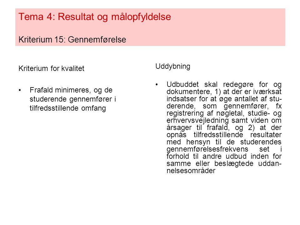 Tema 4: Resultat og målopfyldelse Kriterium 15: Gennemførelse Kriterium for kvalitet •Frafald minimeres, og de studerende gennemfører i tilfredsstillende omfang Uddybning •Udbuddet skal redegøre for og dokumentere, 1) at der er iværksat indsatser for at øge antallet af stu- derende, som gennemfører, fx registrering af nøgletal, studie- og erhvervsvejledning samt viden om årsager til frafald, og 2) at der opnås tilfredsstillende resultater med hensyn til de studerendes gennemførelsesfrekvens set i forhold til andre udbud inden for samme eller beslægtede uddan- nelsesområder
