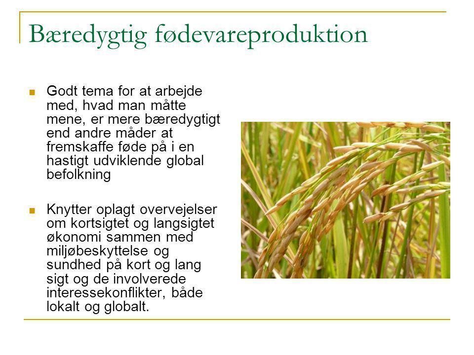 Bæredygtig fødevareproduktion  Godt tema for at arbejde med, hvad man måtte mene, er mere bæredygtigt end andre måder at fremskaffe føde på i en hastigt udviklende global befolkning  Knytter oplagt overvejelser om kortsigtet og langsigtet økonomi sammen med miljøbeskyttelse og sundhed på kort og lang sigt og de involverede interessekonflikter, både lokalt og globalt.