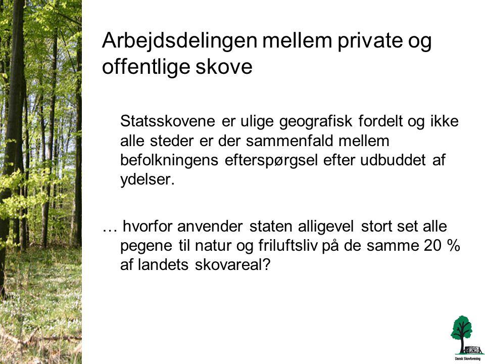 Arbejdsdelingen mellem private og offentlige skove Statsskovene er ulige geografisk fordelt og ikke alle steder er der sammenfald mellem befolkningens efterspørgsel efter udbuddet af ydelser.