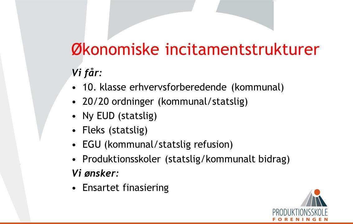 Økonomiske incitamentstrukturer Vi får: •10.
