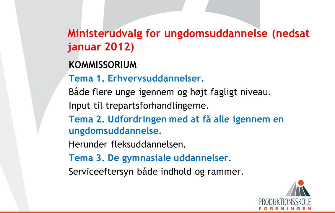 Ministerudvalg for ungdomsuddannelse (nedsat januar 2012) KOMMISSORIUM Tema 1.