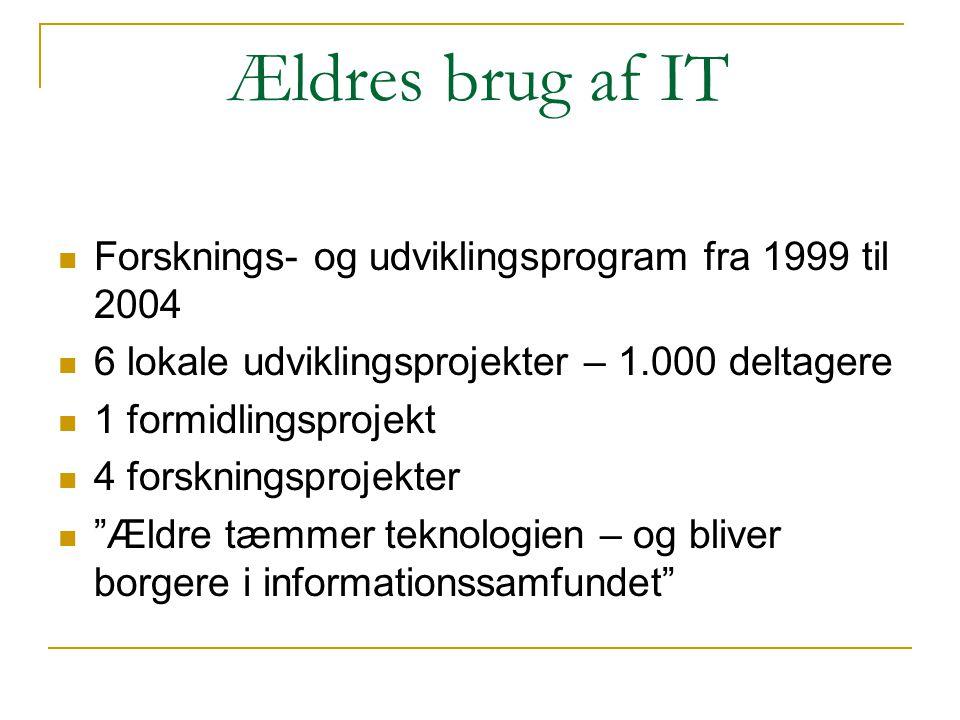 Ældres brug af IT  Forsknings- og udviklingsprogram fra 1999 til 2004  6 lokale udviklingsprojekter – 1.000 deltagere  1 formidlingsprojekt  4 for