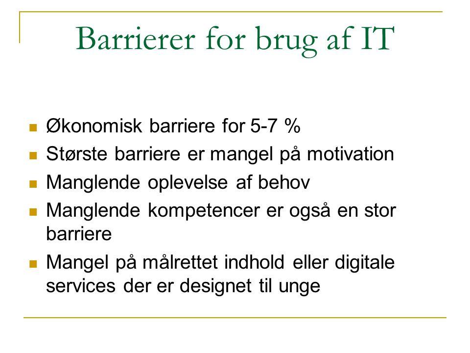 Barrierer for brug af IT  Økonomisk barriere for 5-7 %  Største barriere er mangel på motivation  Manglende oplevelse af behov  Manglende kompeten