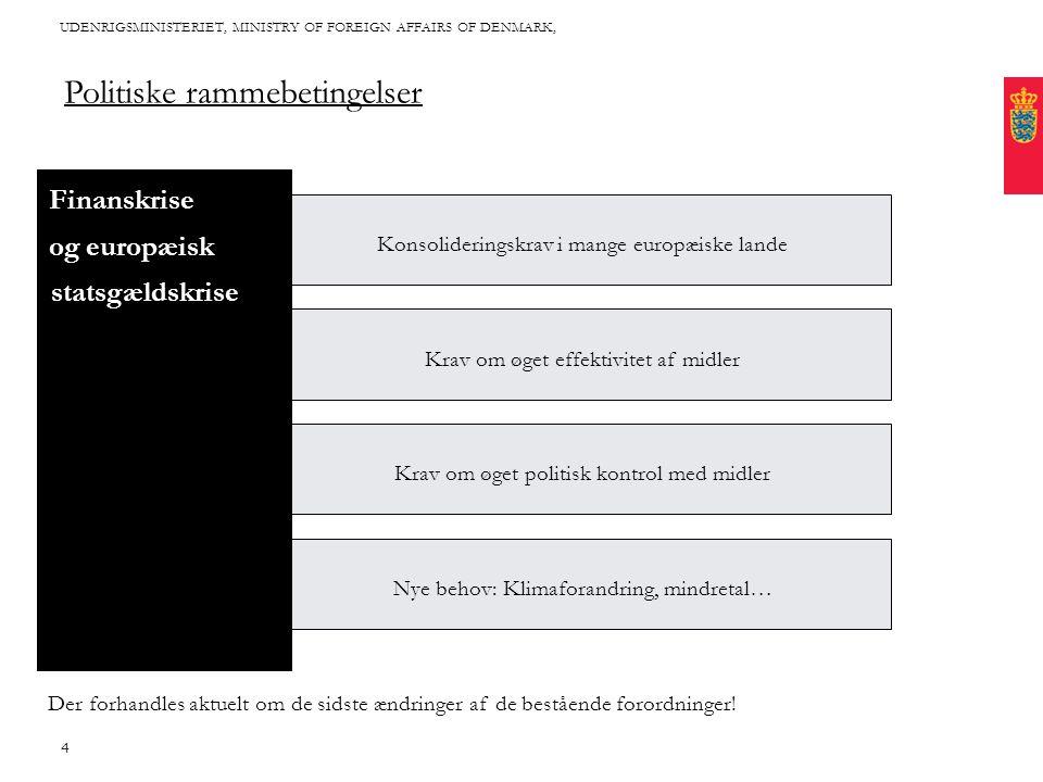 Title written in CAPITAL letters, broken into 2 lines, if it fits with the length of the words Cover this area with photo: Proportions are approx 2*1 (24,46 * 11,65 cm) Fixed text margin Minimum clear margin for text UDENRIGSMINISTERIET, MINISTRY OF FOREIGN AFFAIRS OF DENMARK, 4 Politiske rammebetingelser Konsolideringskrav i mange europæiske lande Krav om øget effektivitet af midler Krav om øget politisk kontrol med midler Nye behov: Klimaforandring, mindretal… Finanskrise og europæisk ´statsgældskrise Der forhandles aktuelt om de sidste ændringer af de bestående forordninger!