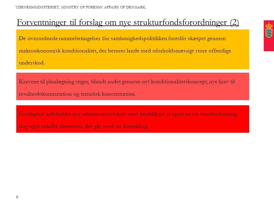 Title written in CAPITAL letters, broken into 2 lines, if it fits with the length of the words Cover this area with photo: Proportions are approx 2*1 (24,46 * 11,65 cm) Fixed text margin Minimum clear margin for text UDENRIGSMINISTERIET, MINISTRY OF FOREIGN AFFAIRS OF DENMARK, 9 Forventninger til forslag om nye strukturfondsforordninger (2) De overordnede rammebetingelser for samhørighedspolitikken foreslås skærpet gennem makroøkonomisk konditionalitet, der berører lande med uforholdsmæssigt store offentlige underskud.
