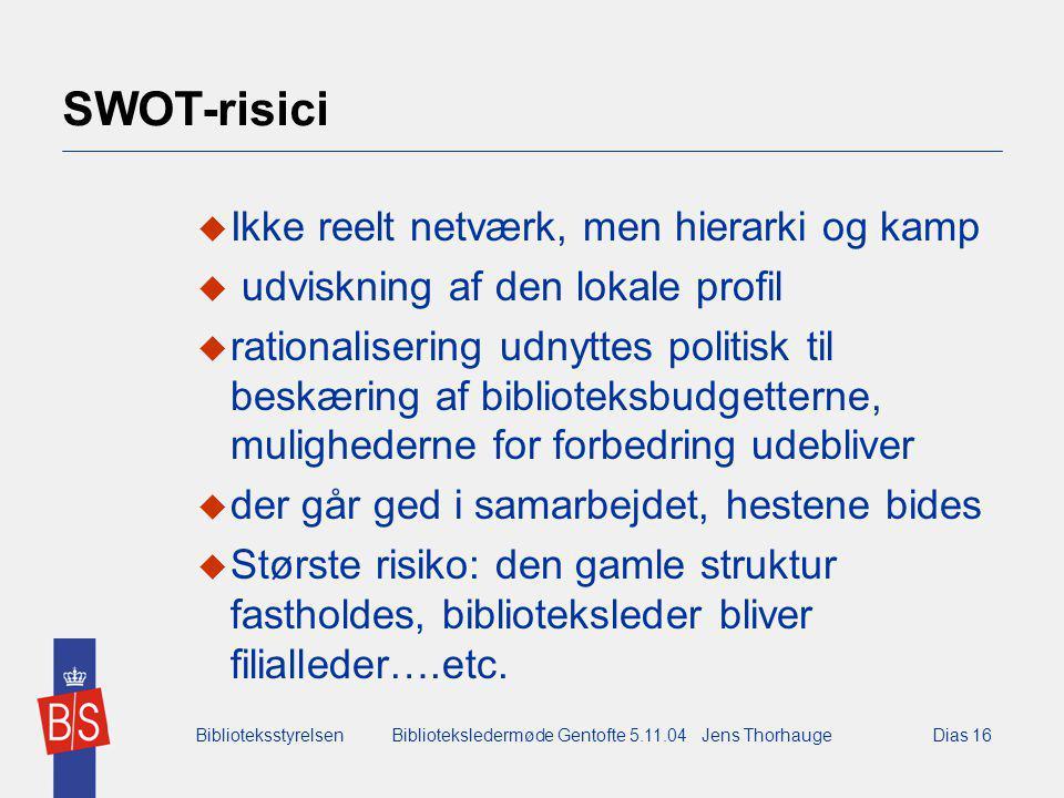BiblioteksstyrelsenBiblioteksledermøde Gentofte 5.11.04 Jens ThorhaugeDias 16 SWOT-risici  Ikke reelt netværk, men hierarki og kamp  udviskning af den lokale profil  rationalisering udnyttes politisk til beskæring af biblioteksbudgetterne, mulighederne for forbedring udebliver  der går ged i samarbejdet, hestene bides  Største risiko: den gamle struktur fastholdes, biblioteksleder bliver filialleder….etc.