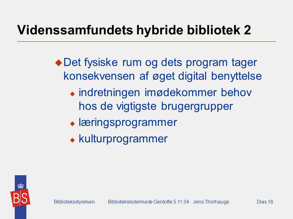 BiblioteksstyrelsenBiblioteksledermøde Gentofte 5.11.04 Jens ThorhaugeDias 18 Videnssamfundets hybride bibliotek 2  Det fysiske rum og dets program tager konsekvensen af øget digital benyttelse  indretningen imødekommer behov hos de vigtigste brugergrupper  læringsprogrammer  kulturprogrammer