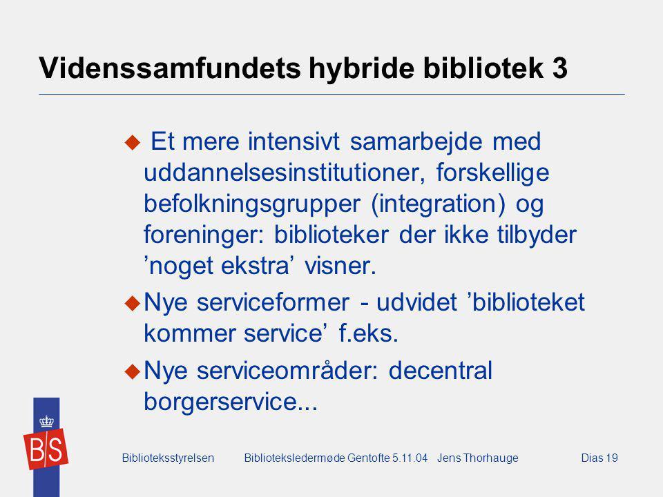 BiblioteksstyrelsenBiblioteksledermøde Gentofte 5.11.04 Jens ThorhaugeDias 19 Videnssamfundets hybride bibliotek 3  Et mere intensivt samarbejde med uddannelsesinstitutioner, forskellige befolkningsgrupper (integration) og foreninger: biblioteker der ikke tilbyder 'noget ekstra' visner.