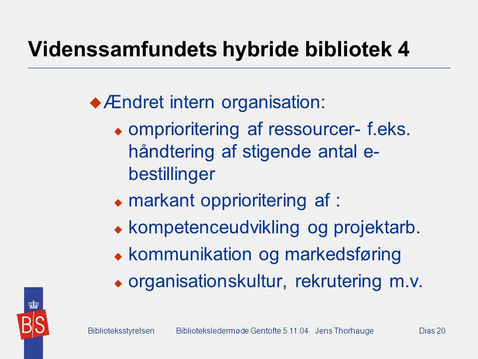 BiblioteksstyrelsenBiblioteksledermøde Gentofte 5.11.04 Jens ThorhaugeDias 20 Videnssamfundets hybride bibliotek 4  Ændret intern organisation:  omprioritering af ressourcer- f.eks.