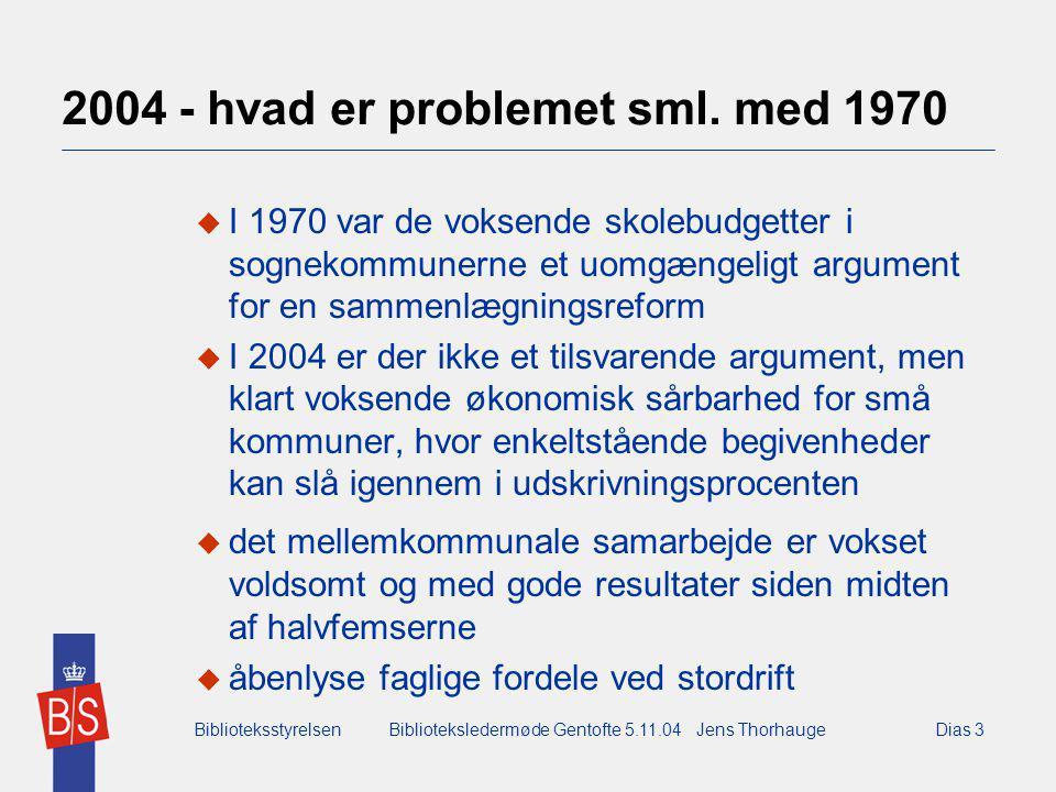 BiblioteksstyrelsenBiblioteksledermøde Gentofte 5.11.04 Jens ThorhaugeDias 3 2004 - hvad er problemet sml.