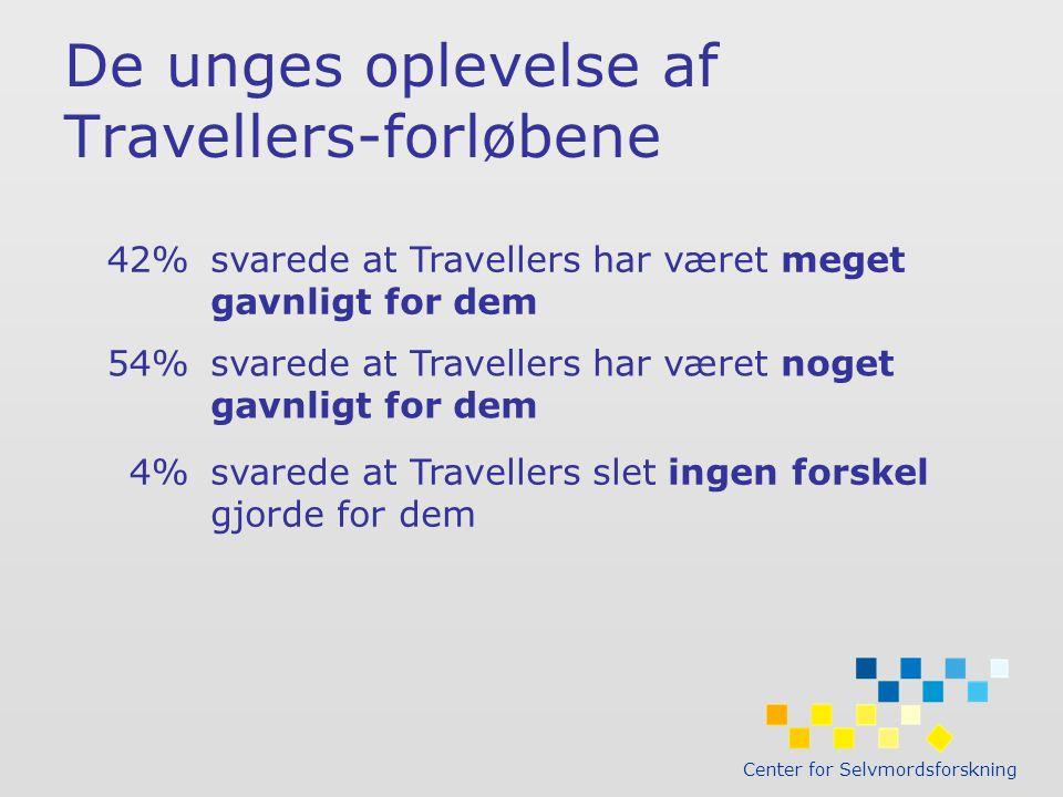 Center for Selvmordsforskning De unges oplevelse af Travellers-forløbene 42%svarede at Travellers har været meget gavnligt for dem 54%svarede at Travellers har været noget gavnligt for dem 4%svarede at Travellers slet ingen forskel gjorde for dem