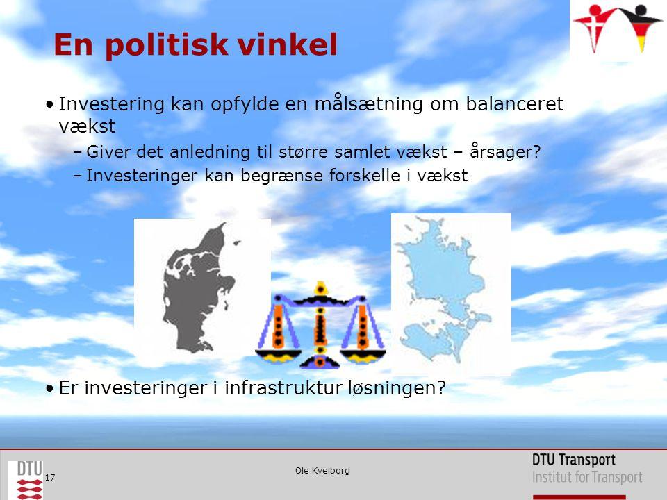 Ole Kveiborg 17 En politisk vinkel •Investering kan opfylde en målsætning om balanceret vækst –Giver det anledning til større samlet vækst – årsager.