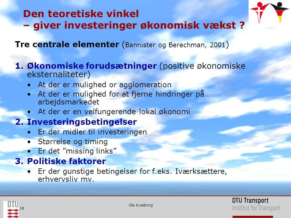 Ole Kveiborg 18 Den teoretiske vinkel – giver investeringer økonomisk vækst .
