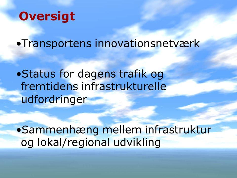 2 Oversigt •Transportens innovationsnetværk •Status for dagens trafik og fremtidens infrastrukturelle udfordringer •Sammenhæng mellem infrastruktur og lokal/regional udvikling