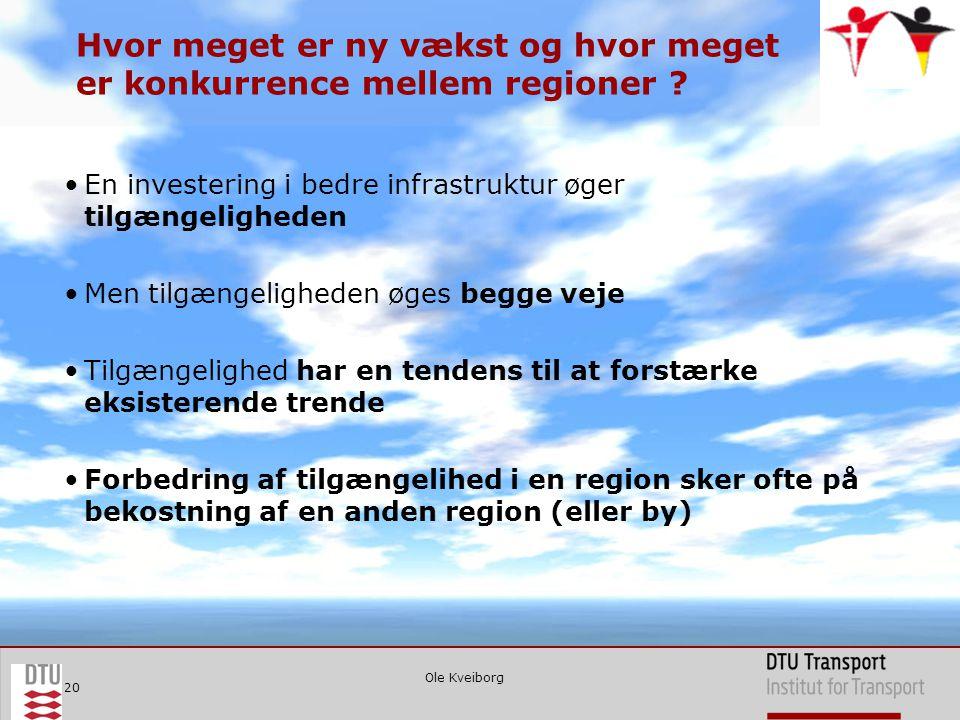 Ole Kveiborg 20 Hvor meget er ny vækst og hvor meget er konkurrence mellem regioner .