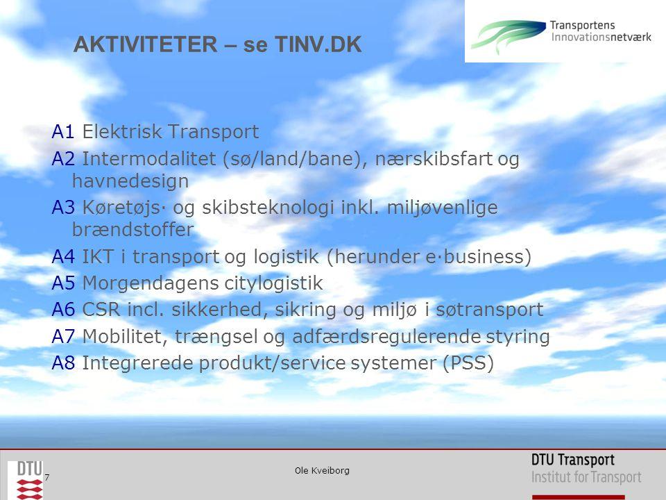 Ole Kveiborg 7 AKTIVITETER – se TINV.DK A1 Elektrisk Transport A2 Intermodalitet (sø/land/bane), nærskibsfart og havnedesign A3 Køretøjs∙ og skibsteknologi inkl.