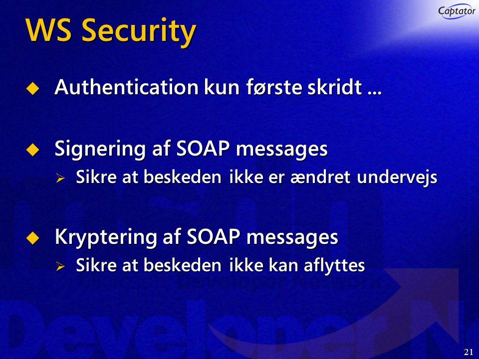 21 WS Security  Authentication kun første skridt...
