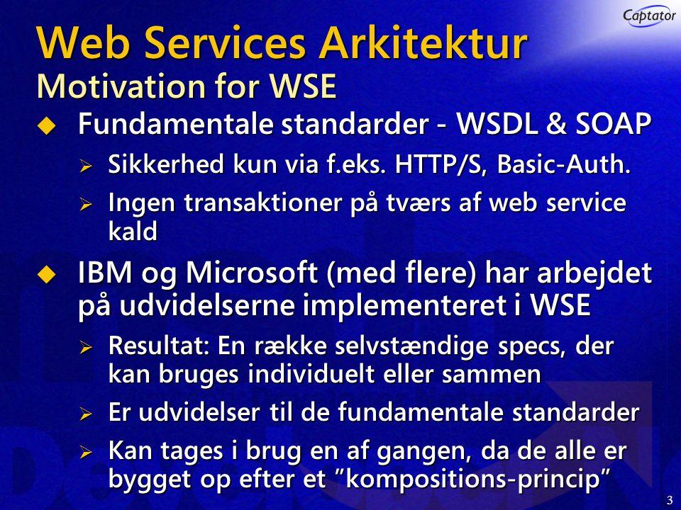 3 Web Services Arkitektur Motivation for WSE  Fundamentale standarder - WSDL & SOAP  Sikkerhed kun via f.eks.