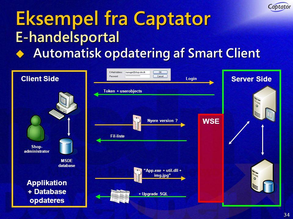 34 Eksempel fra Captator E-handelsportal  Automatisk opdatering af Smart Client Login Token + userobjects Nyere version .