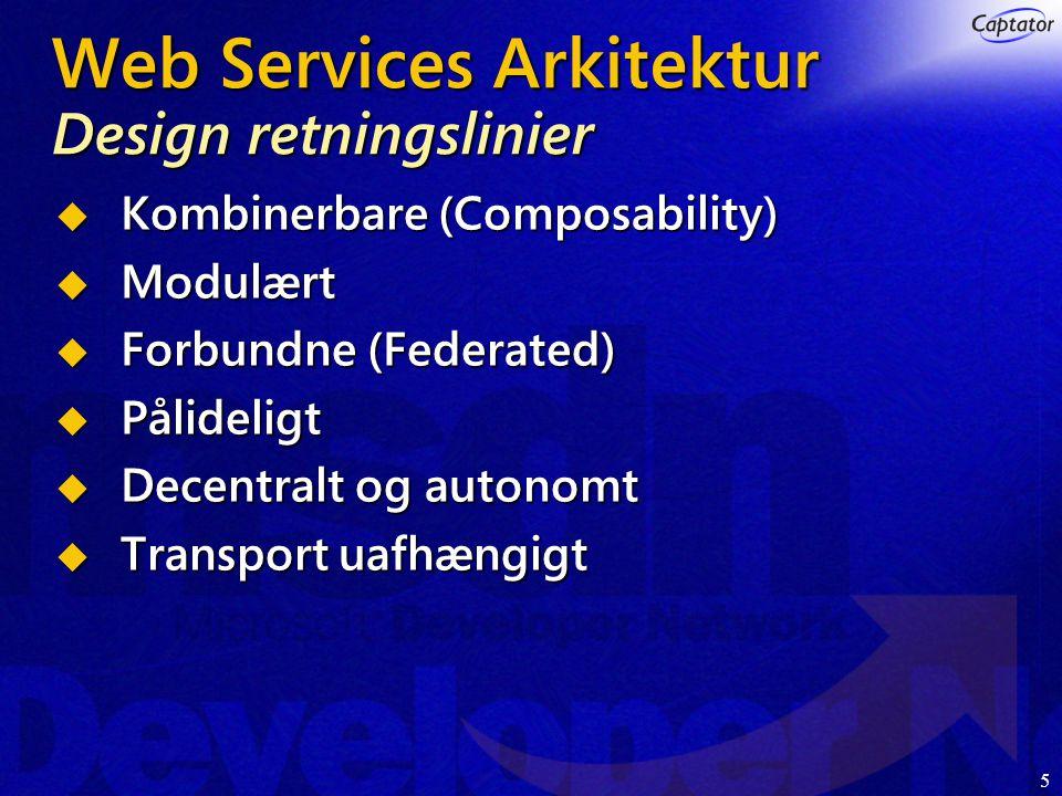5 Web Services Arkitektur Design retningslinier  Kombinerbare (Composability)  Modulært  Forbundne (Federated)  Pålideligt  Decentralt og autonomt  Transport uafhængigt