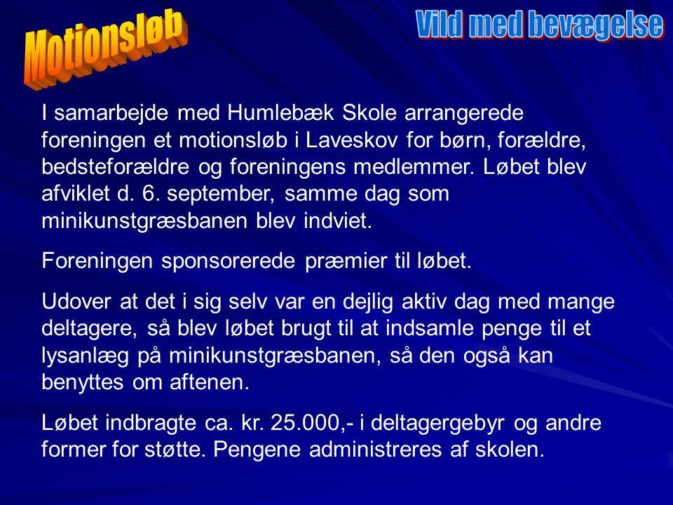I samarbejde med Humlebæk Skole arrangerede foreningen et motionsløb i Laveskov for børn, forældre, bedsteforældre og foreningens medlemmer.