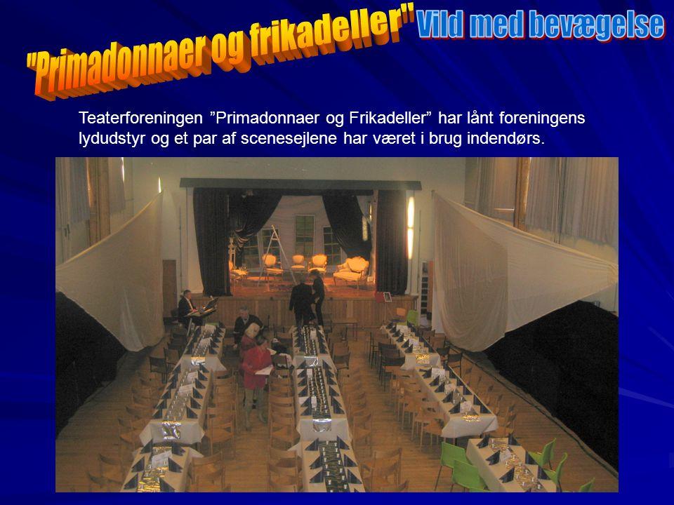 Teaterforeningen Primadonnaer og Frikadeller har lånt foreningens lydudstyr og et par af scenesejlene har været i brug indendørs.