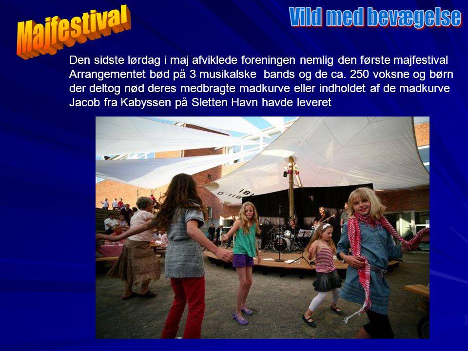 Den sidste lørdag i maj afviklede foreningen nemlig den første majfestival Arrangementet bød på 3 musikalske bands og de ca.