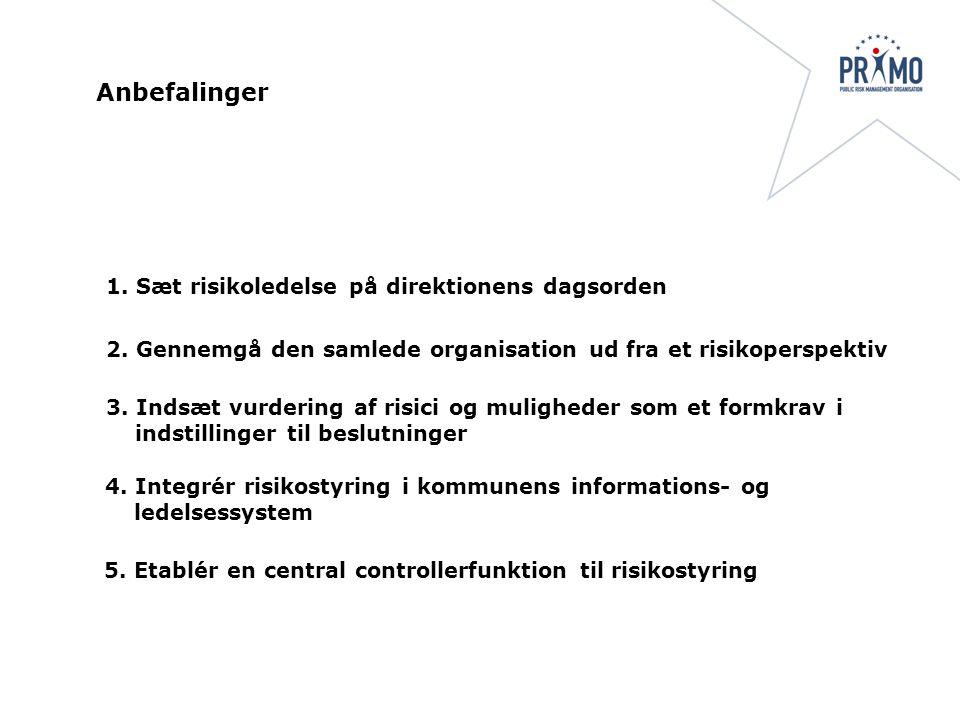 3. Indsæt vurdering af risici og muligheder som et formkrav i indstillinger til beslutninger 4.