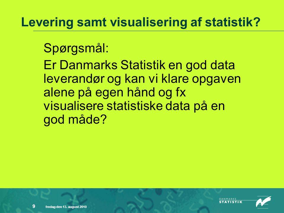 fredag den 13. august 2010 9 Levering samt visualisering af statistik.