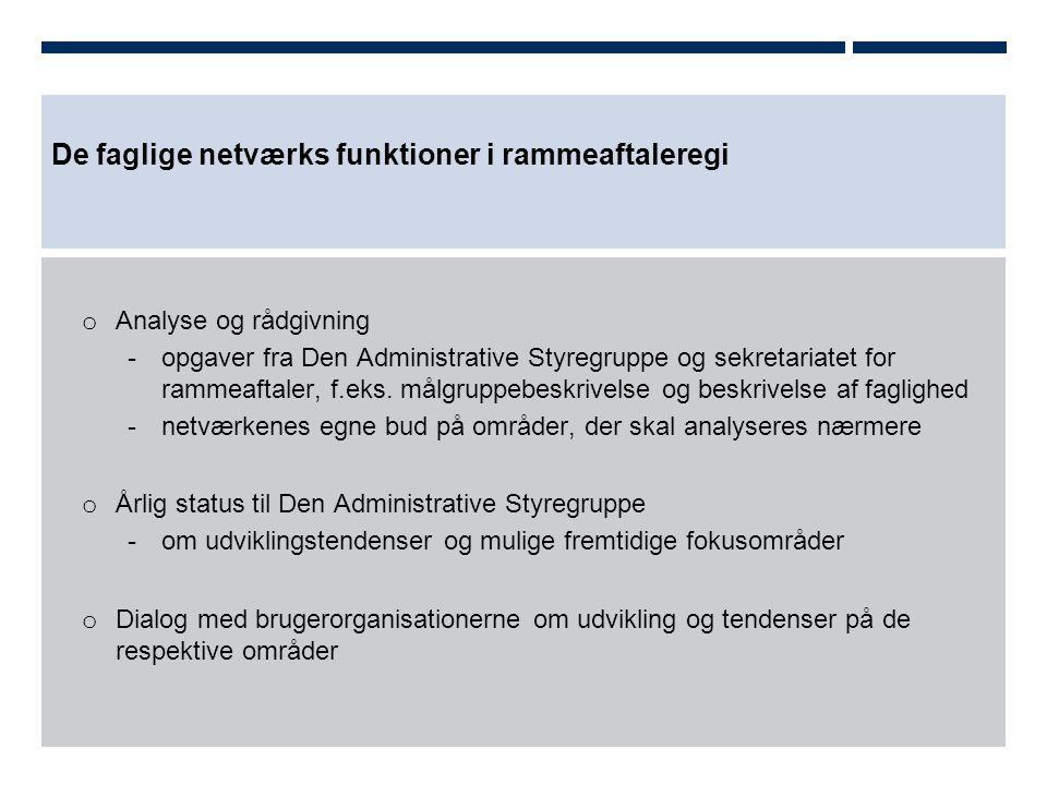 De faglige netværks funktioner i rammeaftaleregi o Analyse og rådgivning -opgaver fra Den Administrative Styregruppe og sekretariatet for rammeaftaler, f.eks.
