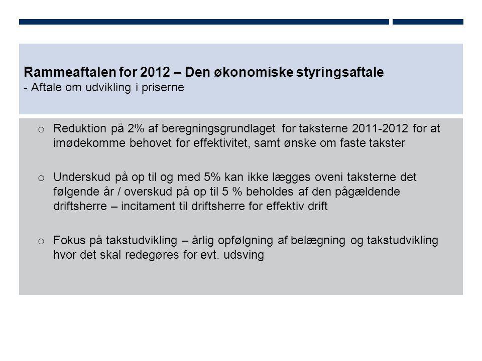 Rammeaftalen for 2012 – Den økonomiske styringsaftale - Aftale om udvikling i priserne o Reduktion på 2% af beregningsgrundlaget for taksterne 2011-2012 for at imødekomme behovet for effektivitet, samt ønske om faste takster o Underskud på op til og med 5% kan ikke lægges oveni taksterne det følgende år / overskud på op til 5 % beholdes af den pågældende driftsherre – incitament til driftsherre for effektiv drift o Fokus på takstudvikling – årlig opfølgning af belægning og takstudvikling hvor det skal redegøres for evt.