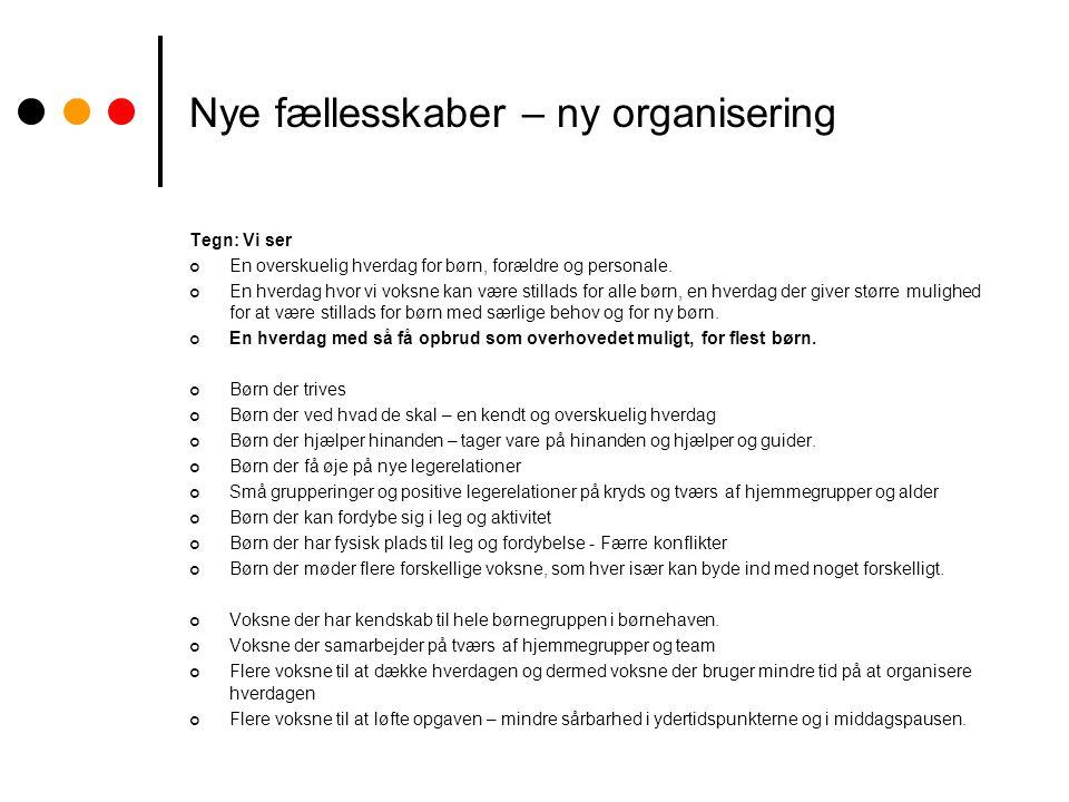 Nye fællesskaber – ny organisering Tegn: Vi ser En overskuelig hverdag for børn, forældre og personale.