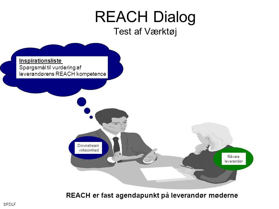 ©FDLF REACH Dialog Test af Værktøj Downstream virksomhed Råvare leverandør Inspirationsliste Spørgsmål til vurdering af leverandørens REACH kompetence REACH er fast agendapunkt på leverandør møderne