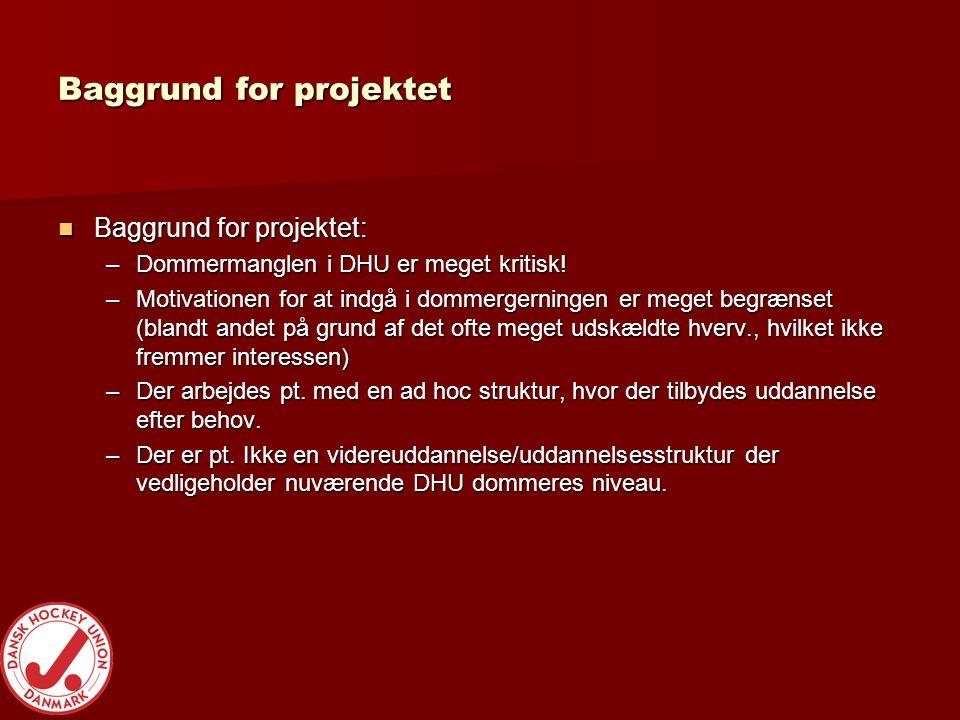 Baggrund for projektet  Baggrund for projektet: –Dommermanglen i DHU er meget kritisk.