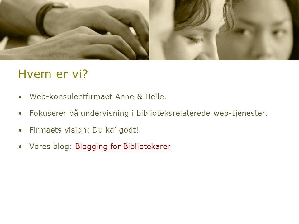 Hvem er vi. •Web-konsulentfirmaet Anne & Helle.