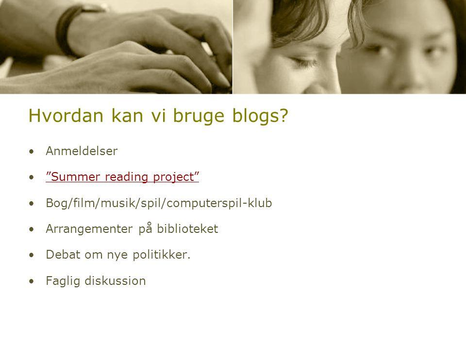 Hvordan kan vi bruge blogs.