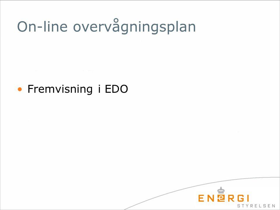 On-line overvågningsplan •Fremvisning i EDO