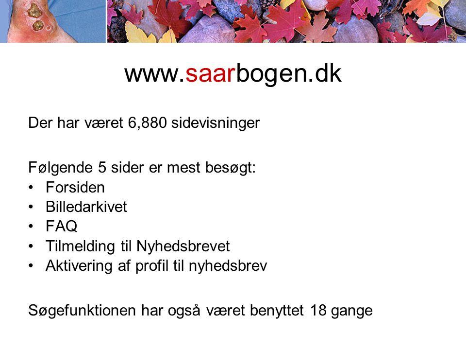 www.saarbogen.dk Der har været 6,880 sidevisninger Følgende 5 sider er mest besøgt: •Forsiden •Billedarkivet •FAQ •Tilmelding til Nyhedsbrevet •Aktivering af profil til nyhedsbrev Søgefunktionen har også været benyttet 18 gange