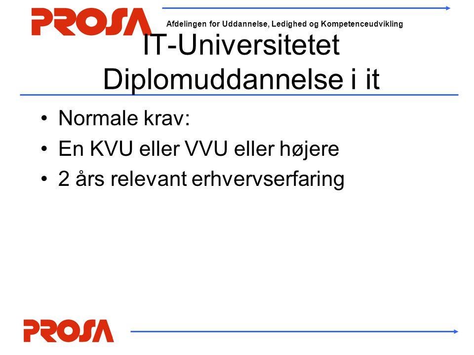 Afdelingen for Uddannelse, Ledighed og Kompetenceudvikling IT-Universitetet Diplomuddannelse i it •Normale krav: •En KVU eller VVU eller højere •2 års relevant erhvervserfaring