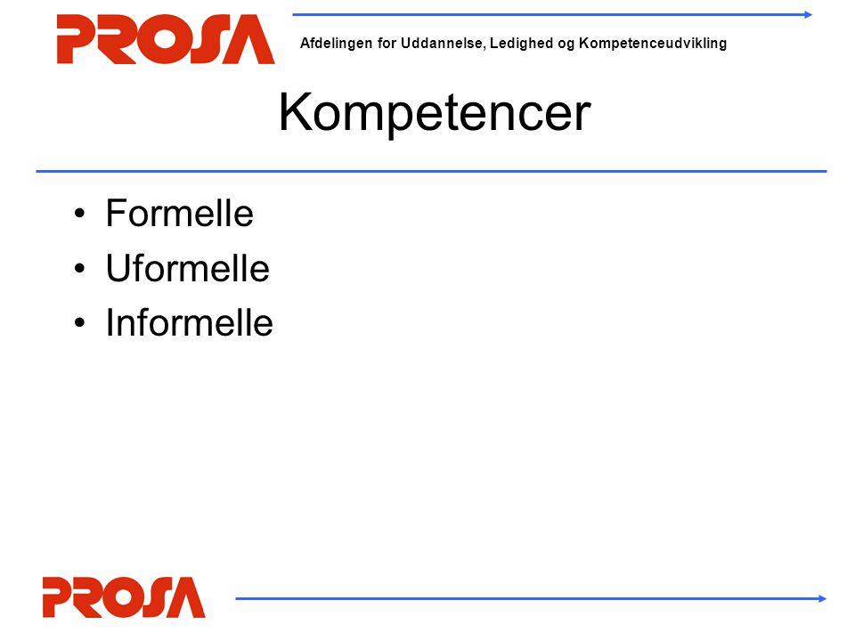 Afdelingen for Uddannelse, Ledighed og Kompetenceudvikling Kompetencer •Formelle •Uformelle •Informelle