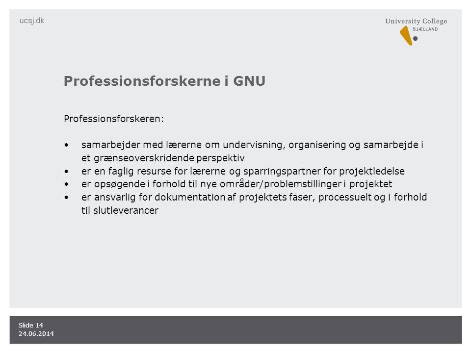 Professionsforskerne i GNU Professionsforskeren: •samarbejder med lærerne om undervisning, organisering og samarbejde i et grænseoverskridende perspektiv •er en faglig resurse for lærerne og sparringspartner for projektledelse •er opsøgende i forhold til nye områder/problemstillinger i projektet •er ansvarlig for dokumentation af projektets faser, processuelt og i forhold til slutleverancer 24.06.2014 Slide 14