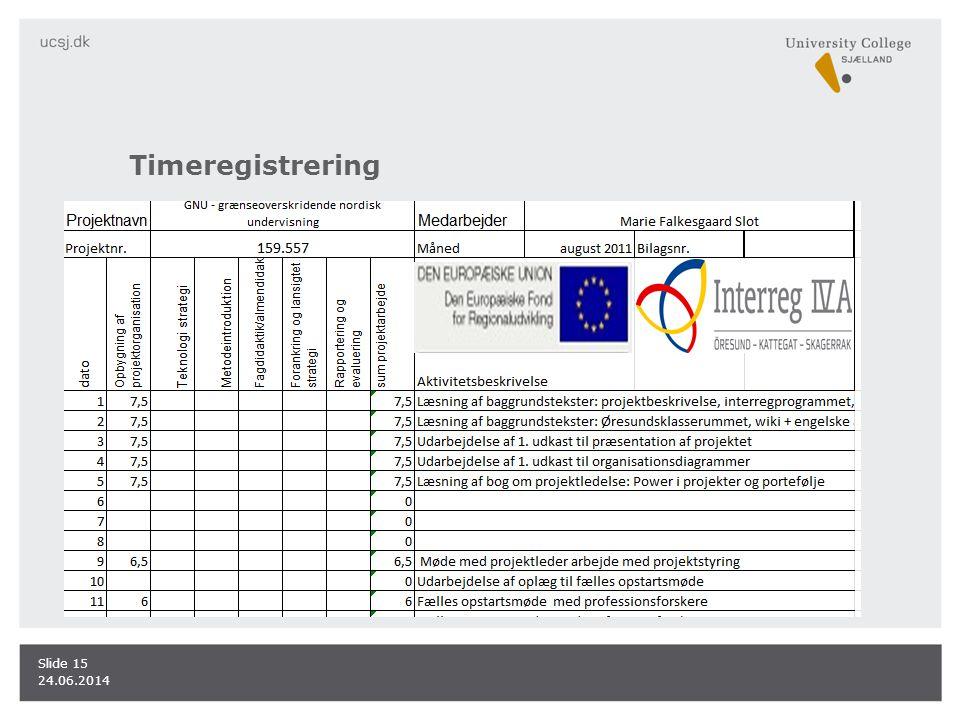 Timeregistrering 24.06.2014 Slide 15