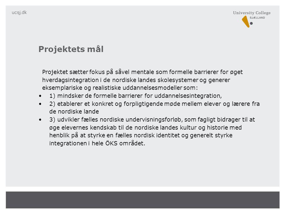 Projektet sætter fokus på såvel mentale som formelle barrierer for øget hverdagsintegration i de nordiske landes skolesystemer og generer eksemplariske og realistiske uddannelsesmodeller som: •1) mindsker de formelle barrierer for uddannelsesintegration, •2) etablerer et konkret og forpligtigende møde mellem elever og lærere fra de nordiske lande •3) udvikler fælles nordiske undervisningsforløb, som fagligt bidrager til at øge elevernes kendskab til de nordiske landes kultur og historie med henblik på at styrke en fælles nordisk identitet og generelt styrke integrationen i hele ÖKS området.
