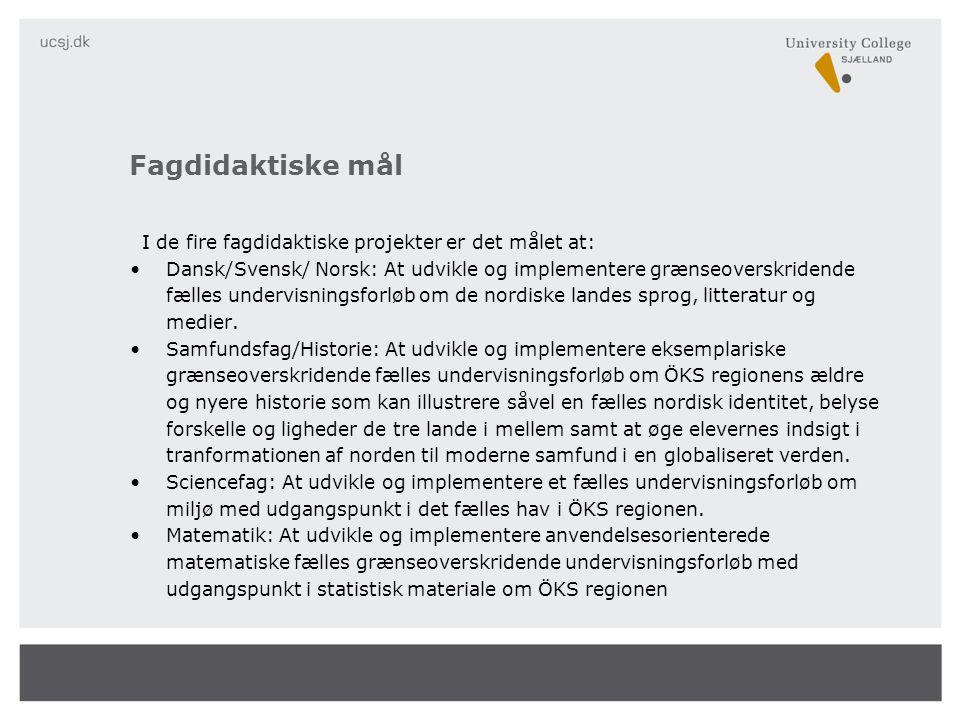 I de fire fagdidaktiske projekter er det målet at: •Dansk/Svensk/ Norsk: At udvikle og implementere grænseoverskridende fælles undervisningsforløb om de nordiske landes sprog, litteratur og medier.